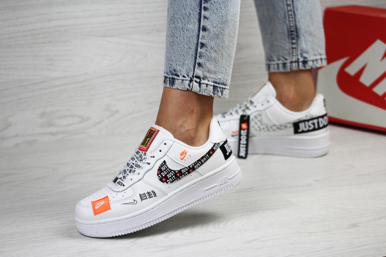 Подростковые,женские кроссовки Nike air force 1 Just Do It, белые с черным