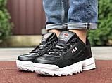 Мужские демисезонные кроссовки Fila Disruptor 2 black/white (черно-белые), фото 4