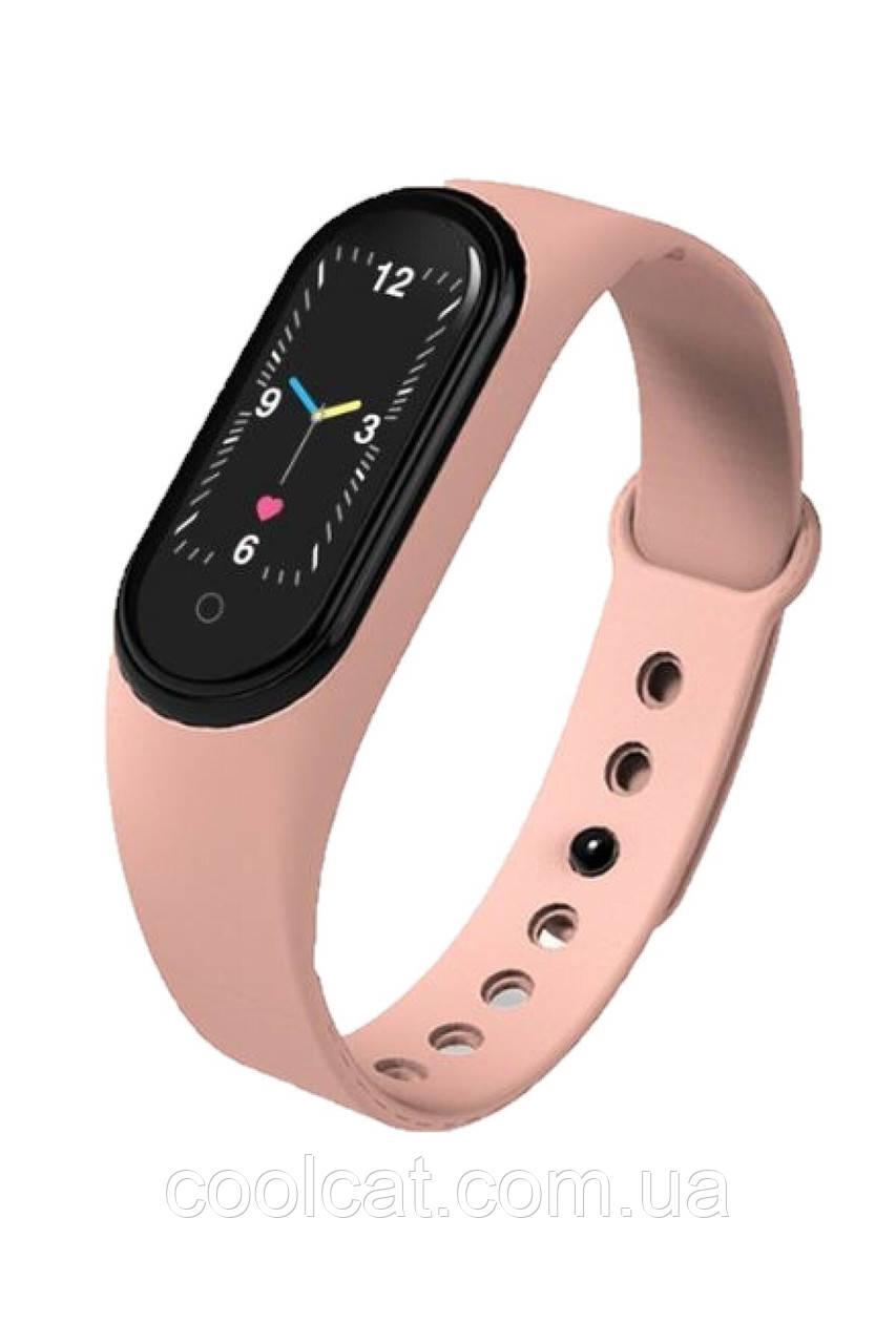 Фитнес браслет Smart Band M5 Mi Band + Дополнительный ремешок в ПОДАРОК - Смарт часы Розовый