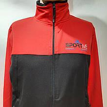 Чоловіча спортивна кофта на блискавці трикотаж Туреччина M L XL 2XL Чорно-червона