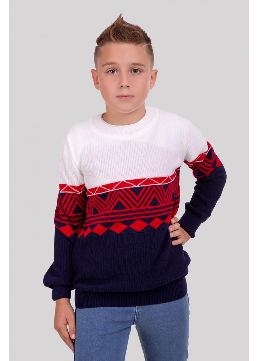 Стильный детский джемпер Остин с узорами на мальчика 128-152 р