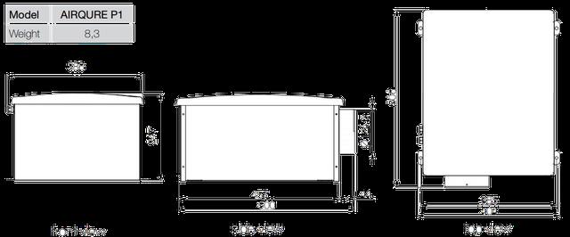 Размеры приточной вентиляцииAerauliqaAIRQURE P1-H