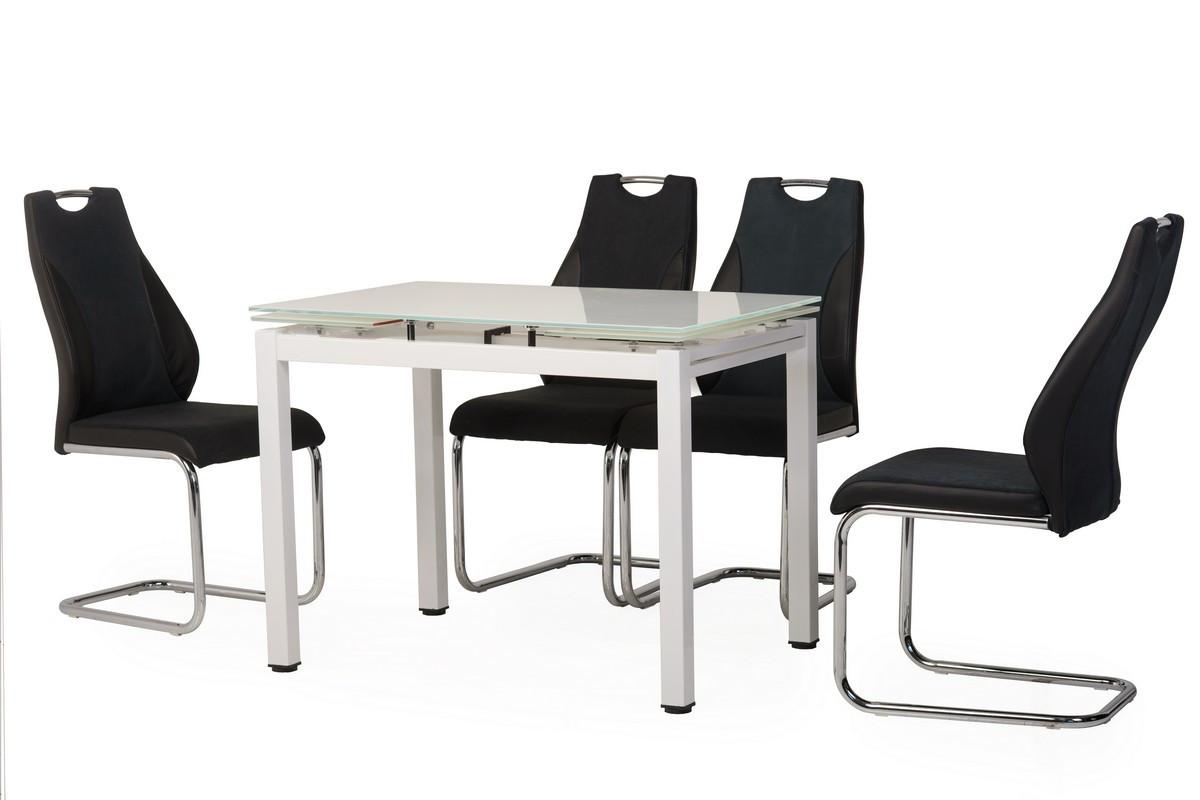 Стіл обідній Т-231 скляний, матовий, розкладний, хром, білий