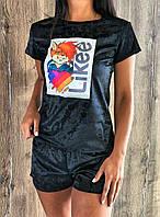 Футболка и шорты- велюровая пижама с аппликацией  609 .
