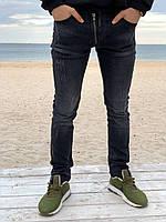 Мужские джинсы с потертостями, тёмно-серые, 30 размер (S), фото 1