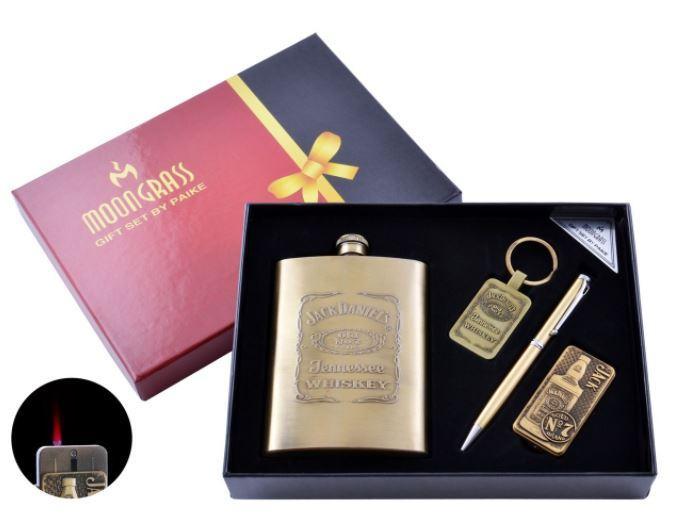 Подарунковий набір з флягою Jack Daniels Запальничка/Брелок/Ручка №DJH-1290