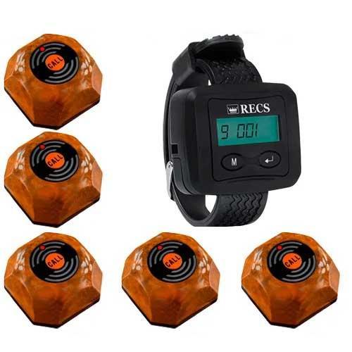 Система вызова официанта RECS №36   кнопки вызова официанта 5 шт + пейджер официанта
