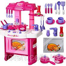 Кухня рожева 15 предметів 008-26 плита, посуд, духовка, звук, світло дитяча