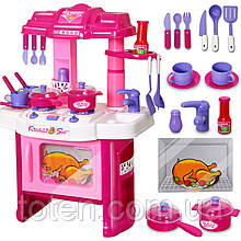 Кухня розовая 15 предметов игровая плита, посудка, духовка, звук, свет детская 008-26