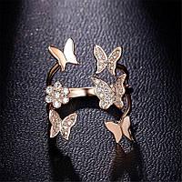 """Жіноче кільце  """"Метелик"""" медсплав, кільце  зі стразами FS1749-65"""