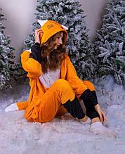 Теплая пижаиа Кигуруми Лиса Для взрослых и детей Оранжевого цвета