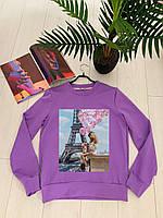 Стильный фиолетовый свитшот с разными принтами 42-48 р