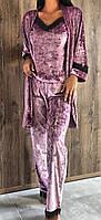 Домашня одяг, оксамитовий комплект халат, піжама( майка+штани).