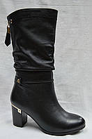 Черные кожаные зимние сапоги Malrostti.Широкое голенище.