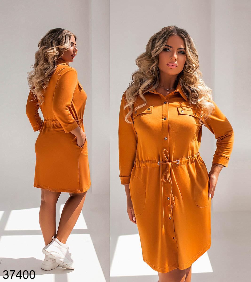Повсякденне плаття-сорочка з відкладним коміром і рядом кнопок попереду з 52 по 58 розмір