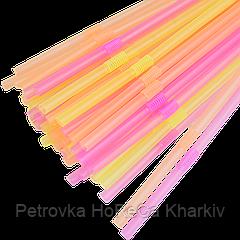 Трубочка с коленом (Светлячёк Неоновая ) 5мм.21,5см.1000шт