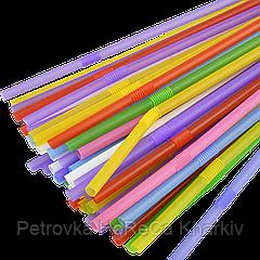 Трубочка с коленом  5мм.21см.1000шт (Микс Разноцветная)