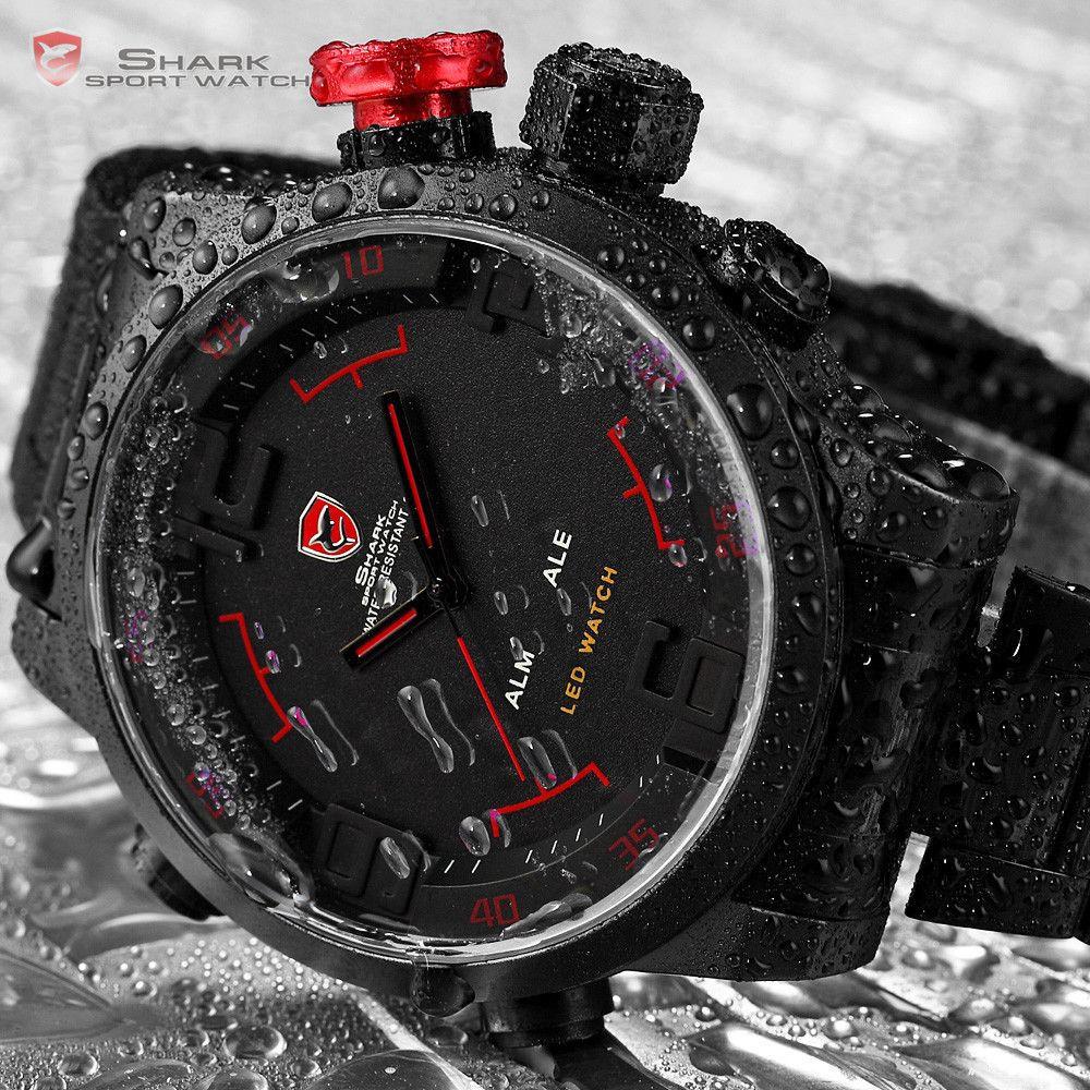 484acb284d22 Мужские наручные часы Shark Digital LED Sport Watch Red SH105 спортивный  стиль - интернет- магазин