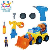 Игрушка-конструктор Huile Toys, строительная машина с инструментами