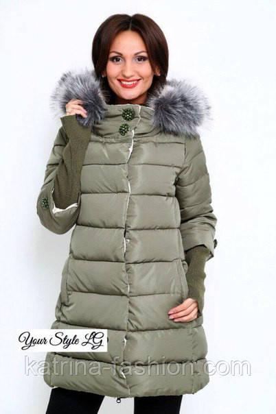 91092b12636 Женская зимняя куртка с довязом и воротником стойкой (3 цвета) - KATRINA  FASHION -