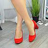 """Жіночі червоні замшеві класичні туфлі на підборах. ТМ """"Maestro"""", фото 5"""