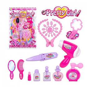 Детский Парикмахерский набор Pretty girl фен,утюжок,косметика,расчески,аксессуары.
