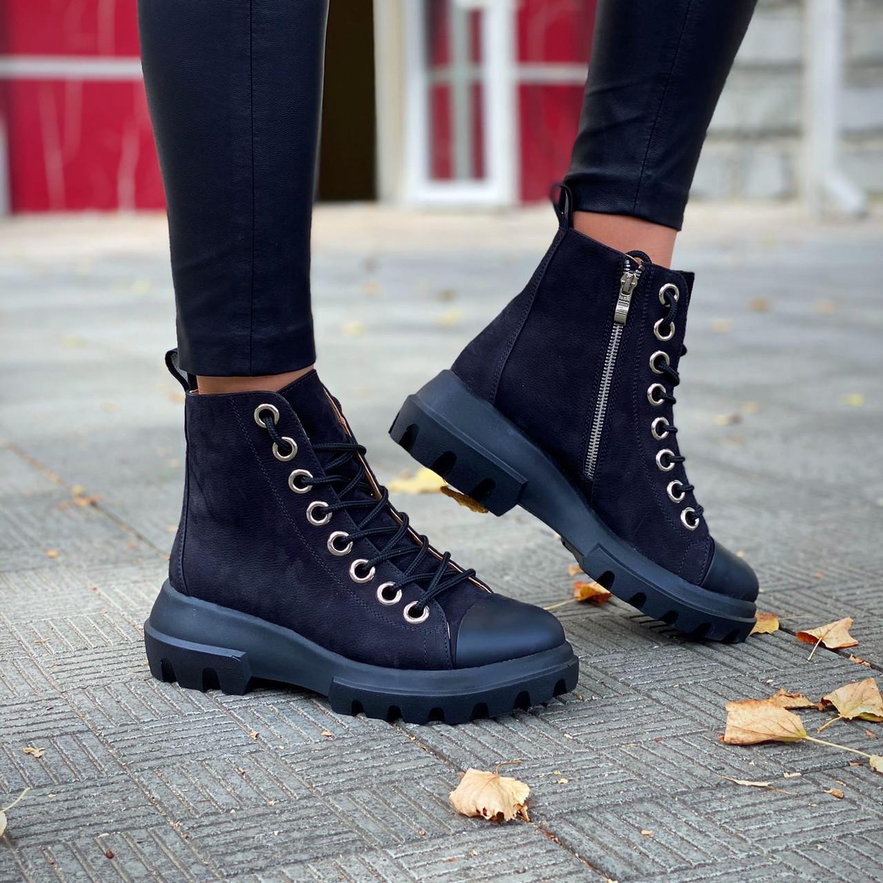 Стильные  ботинки на шнуровке и молнии ( нубук)  39 р чёрный