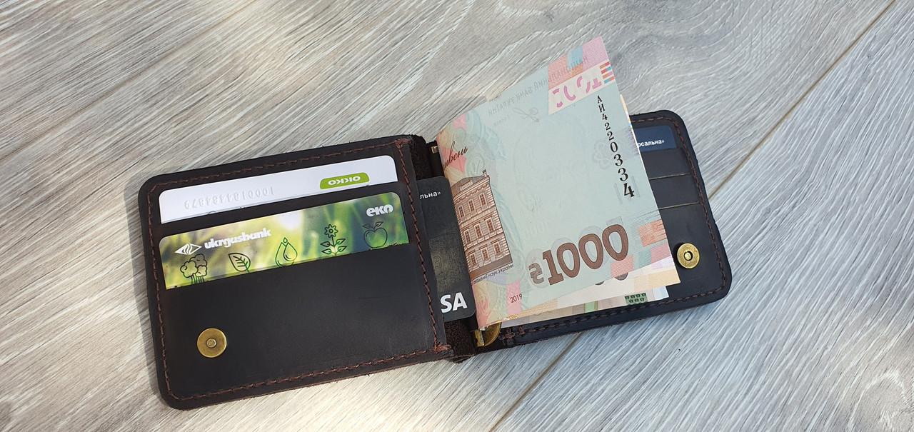 Кожаный зажим для денег GS коричневый