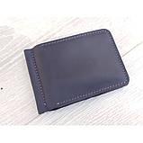 Кожаный зажим для денег GS синего цвета, фото 3