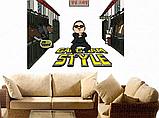 3D Наклейка на стену виниловая GangNam 75х80см., фото 3