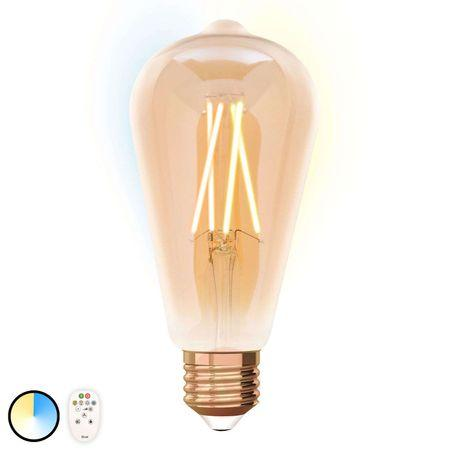 Светодиодная ретро лампа филамент 9W E27 ST64  iDual с пультом