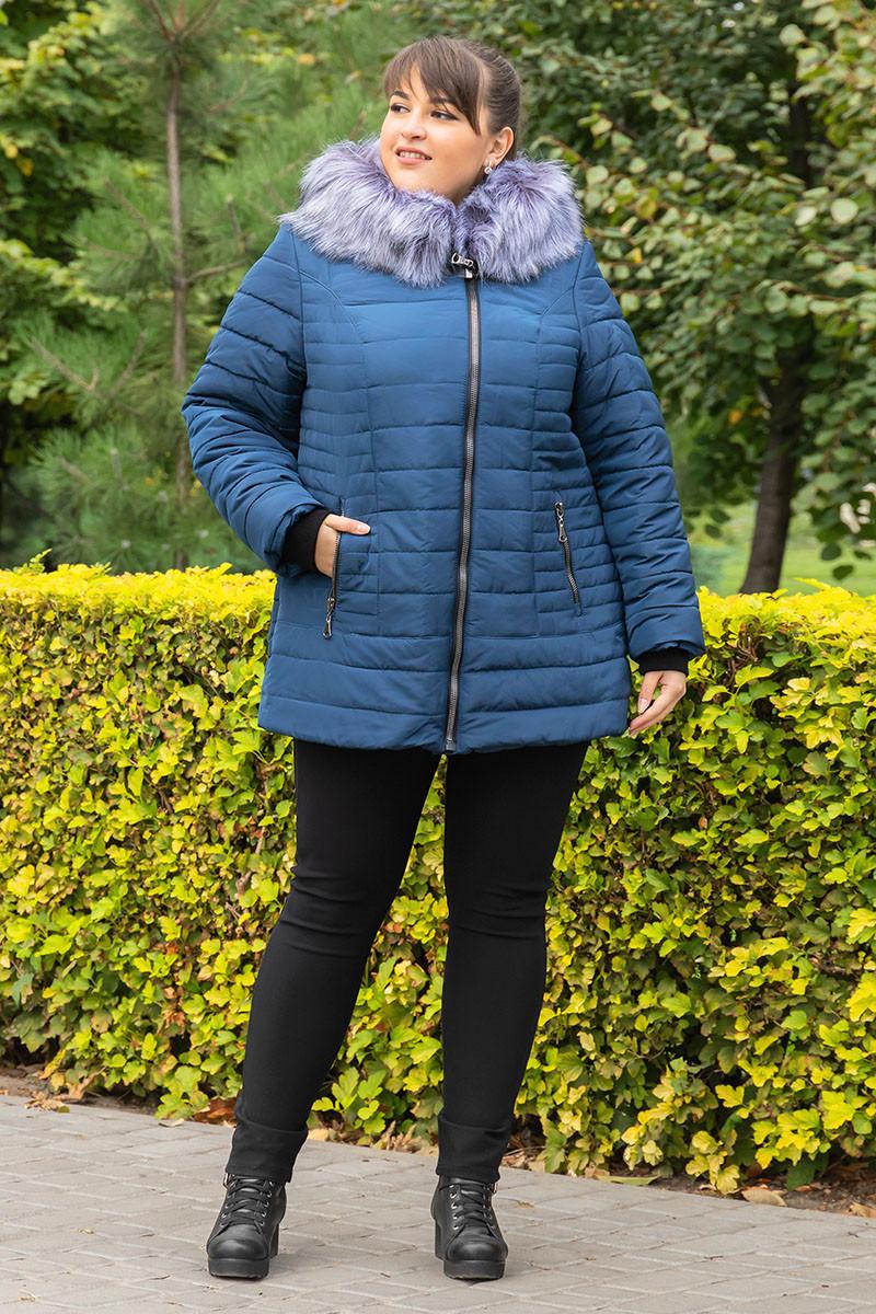 Теплая зимняя женская куртка большого размера