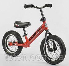 """Велобег Беговел для детей 71860 CORSO, надувные колеса 12"""" Красный  Регулир высота сиденья/руля"""