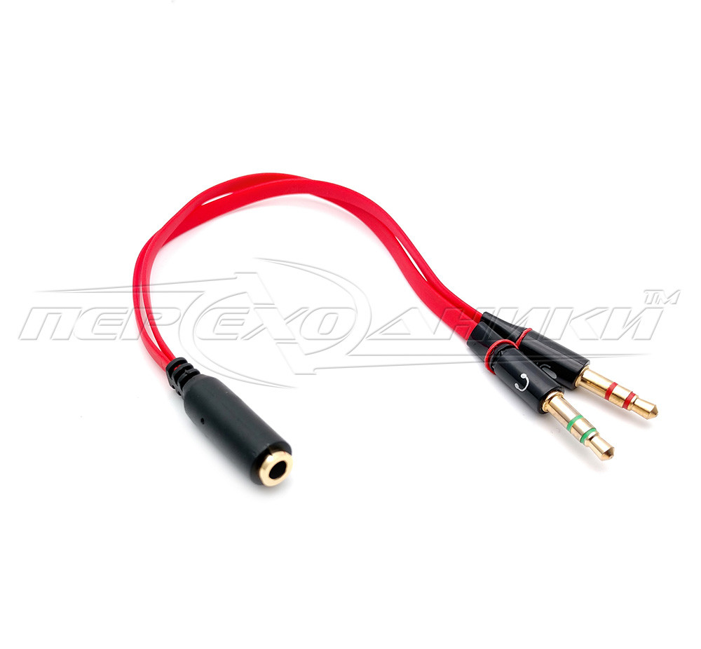 Переходник 3.5 мм гнездо 4 pin на 2 штекера 3.5 мм (микрофон + наушники), евроштекер