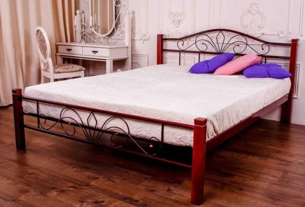 Кровать металлическая двуспальная Лара Люкс Вуд TM Melbi
