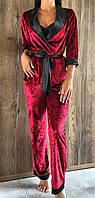 Бордовая пижама пиджак и штаны из мраморного велюра 046-1.