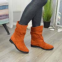 Ботинки рыжие женские замшевые демисезонные свободного одевания. 37 размер