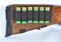 Патронташ на приклад на 6 патронов, замша коричневый