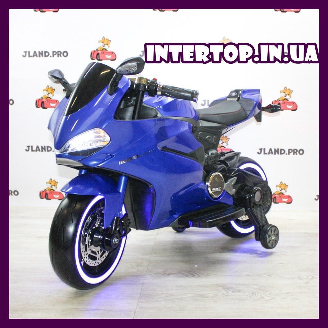 Дитячий електромобіль мотоцикл з підсвічуванням коліс Bambi M 4104EL-4 синій