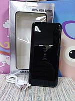 Повербанк Power Bank на 10000 mAh портативный черный с фонариком с бесповодной зарядкой