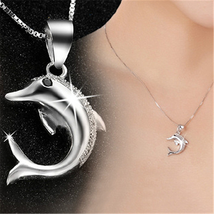 Цепочка с кулоном дельфин, медсплав, женская подвеска со стразами СС1739-75