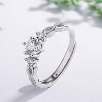 Женское кольцо переплетение,медсплав, кольцо с кристалломСС-1712-75