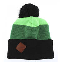 Шапка мужская зимняя с помпоном Zdes 3 color зеленая (модные молодежные,  шапки с бубоном)