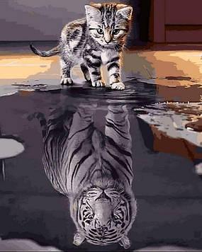 Картина по номерам 40×50 см. Mariposa Котенок - Тигр «Верь в себя». (Q 2181)