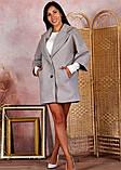 Пальто женское KOTT мини демисезонное плотный кашемир (серый, белый, р.48-52 UNI), фото 2