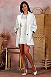 Пальто женское KOTT мини демисезонное плотный кашемир (серый, белый, р.48-52 UNI), фото 4