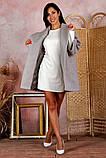 Пальто женское KOTT мини демисезонное плотный кашемир (серый, белый, р.48-52 UNI), фото 3