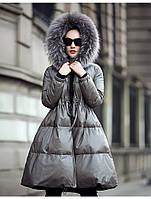 Расклешенный кожаный пуховик из овчины, женская куртка с капюшоном из меха енота