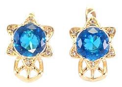 """Серьги M&L желтый оттенок английский замок """"Цветочки с голубыми кристаллами"""""""