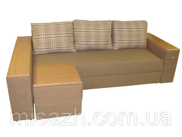 "Угловой диван ""Бостон"" с МДФ накладкой на пуф. витрина 63."